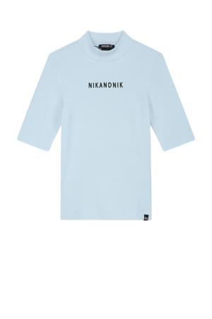 T-shirt NN Rib top met logo lichtblauw