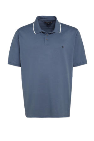 +size regular fit polo Plus Size met contrastbies faded indigo