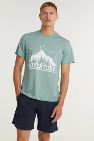 T-shirt ONSVINTAGE met printopdruk turquoise