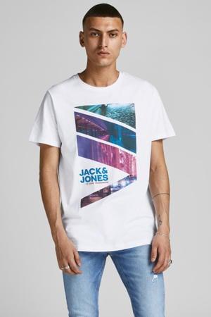 T-shirt JJURBAN-CITY met logo wit