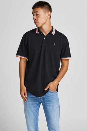 regular fit T-shirt JJNEON met contrastbies zwart