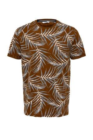 T-shirt Ason met bladprint bruin