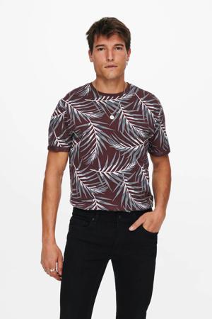 T-shirt Ason met bladprint paars