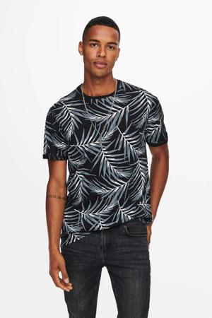 T-shirt ONSIASON met bladprint zwart