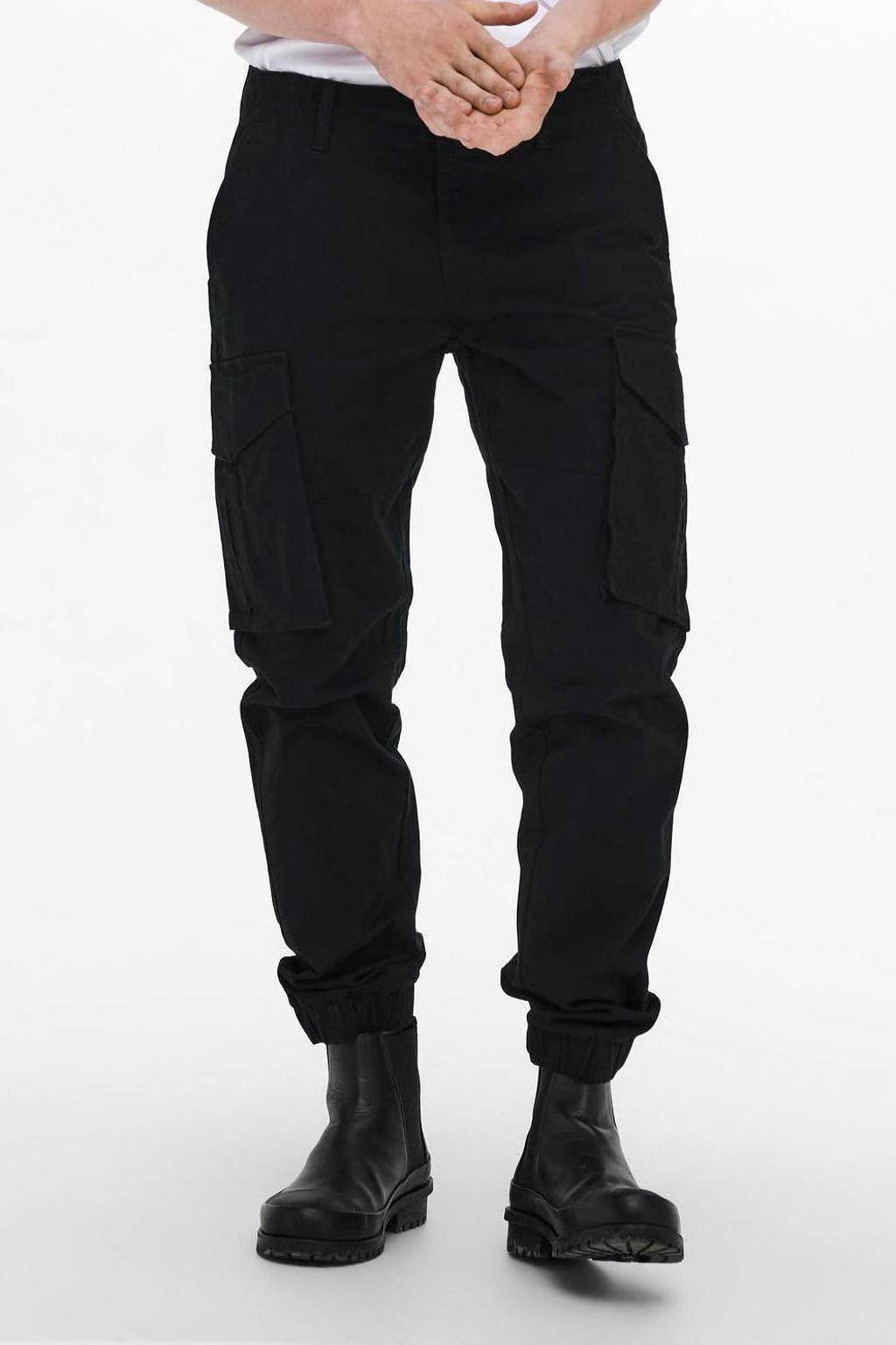 ONLY & SONS tapered fit broek ONSKIM black, Black