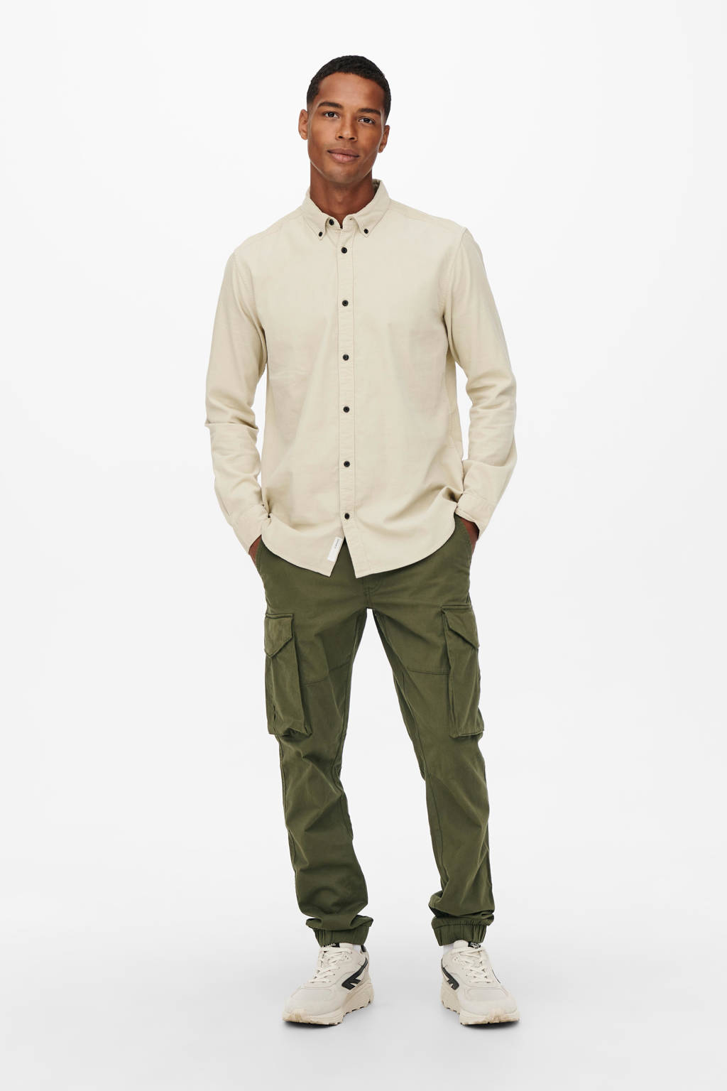 ONLY & SONS tapered fit broek ONSKIM olive night, Olive night