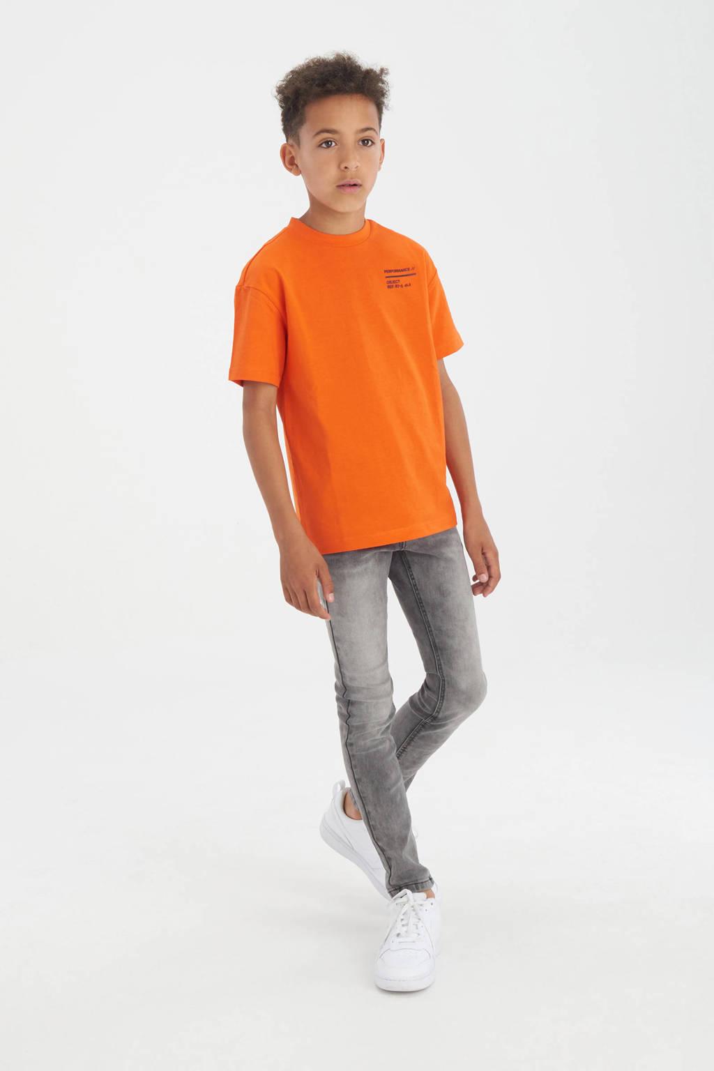 Shoeby Jill & Mitch T-shirt Emanuel met rubberen tekstopdruk oranje, Oranje