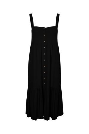 jurk NMMOXI S/L LONG DRESS met volant zwart