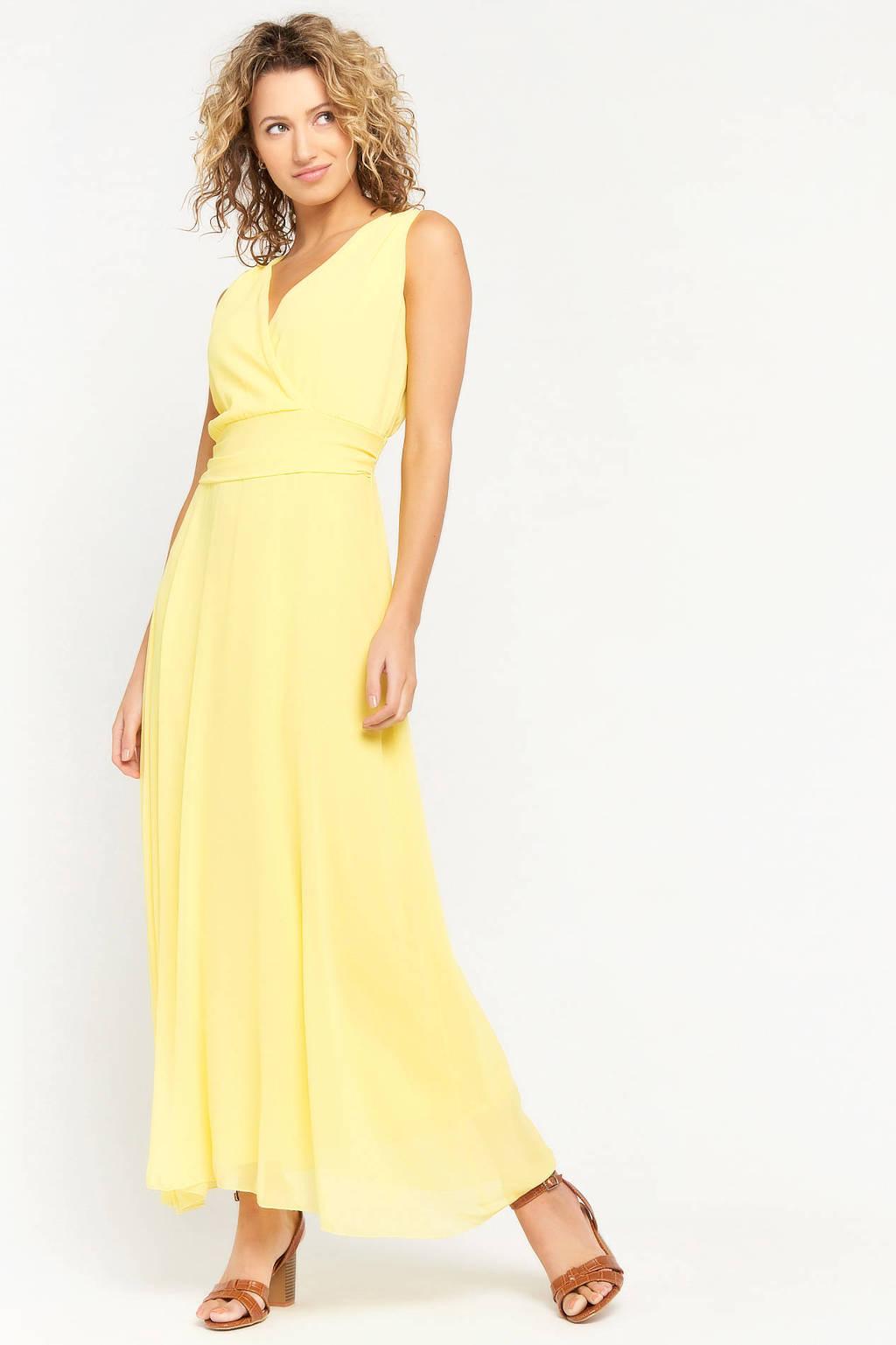 LOLALIZA semi-transparante maxi jurk lichtgeel, Lichtgeel