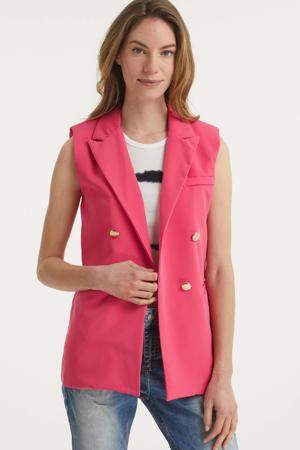 mouwloze blazer roze