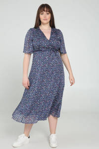 PROMISS semi-transparante A-lijn jurk met dierenprint en volant blauw/paars/zwart, Blauw/paars/zwart