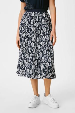 gebloemde semi-transparante rok donkerblauw/ecru