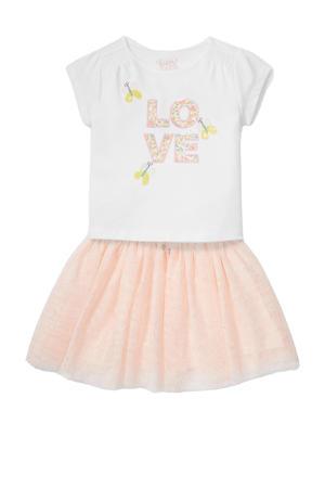 jurk met tekst en plooien wit/zalm