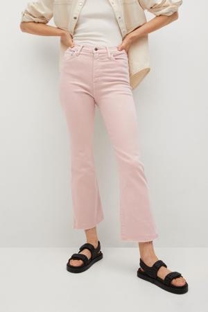 high waist kick flared jeans roze