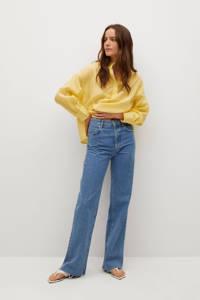 Mango semi-transparante blousetop met ruches geel, Geel