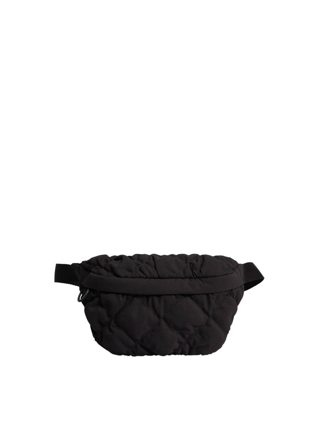 Mango  gewatteerde heuptas zwart, Zwart