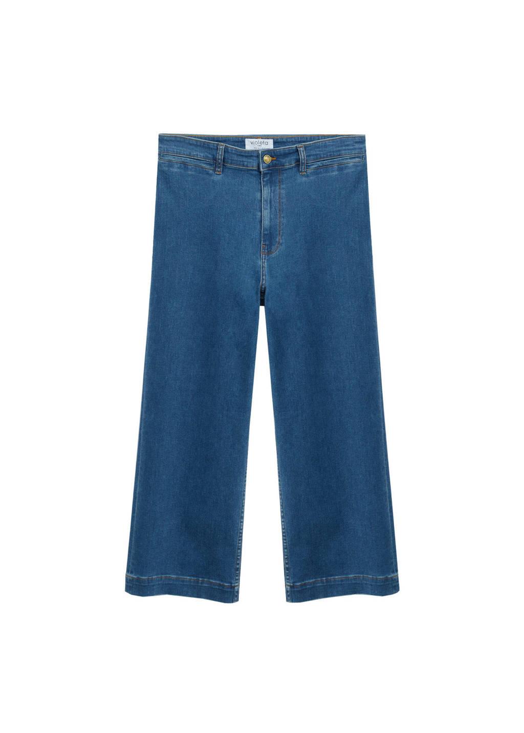 Violeta by Mango cropped high waist loose fit jeans blue denim, Blue denim