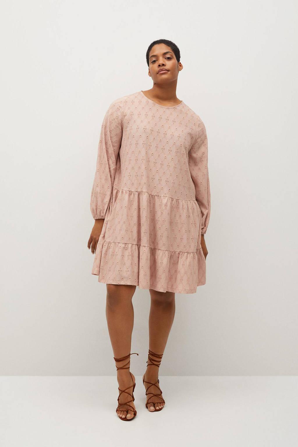Violeta by Mango A-lijn jurk met volant roze, Roze