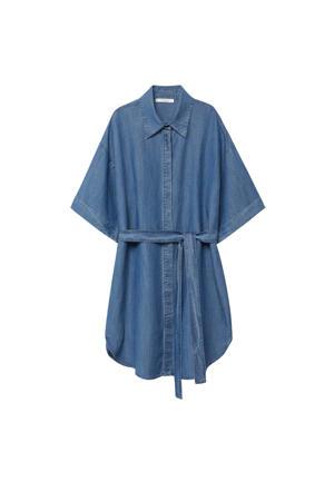 blousejurk met ceintuur blauw
