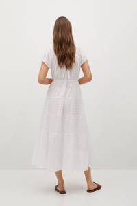 Mango zomerse jurk in geweven ruit textuur wit, Wit