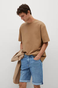 Mango Man regular fit jeans short changeant blauw