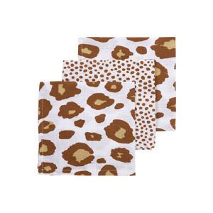 hydrofiel monddoekje - set van 3 30x30 cm Panter-Cheetah camel