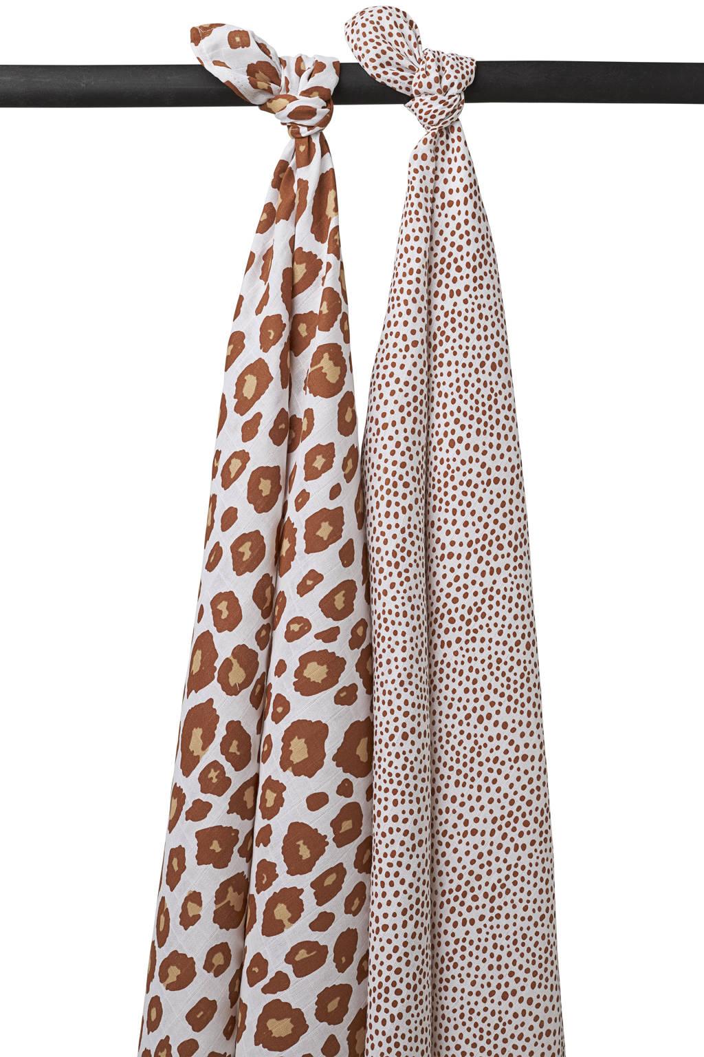Meyco hydrofiele luier - set van 2 120x120 cm Panter-Cheetah camel, Camel/wit/oker