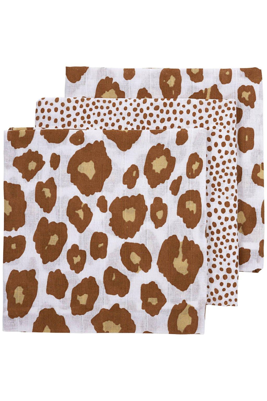 Meyco hydrofiele luier - set van 3 70x70 cm Panter-Cheetah camel, Camel/wit/oker