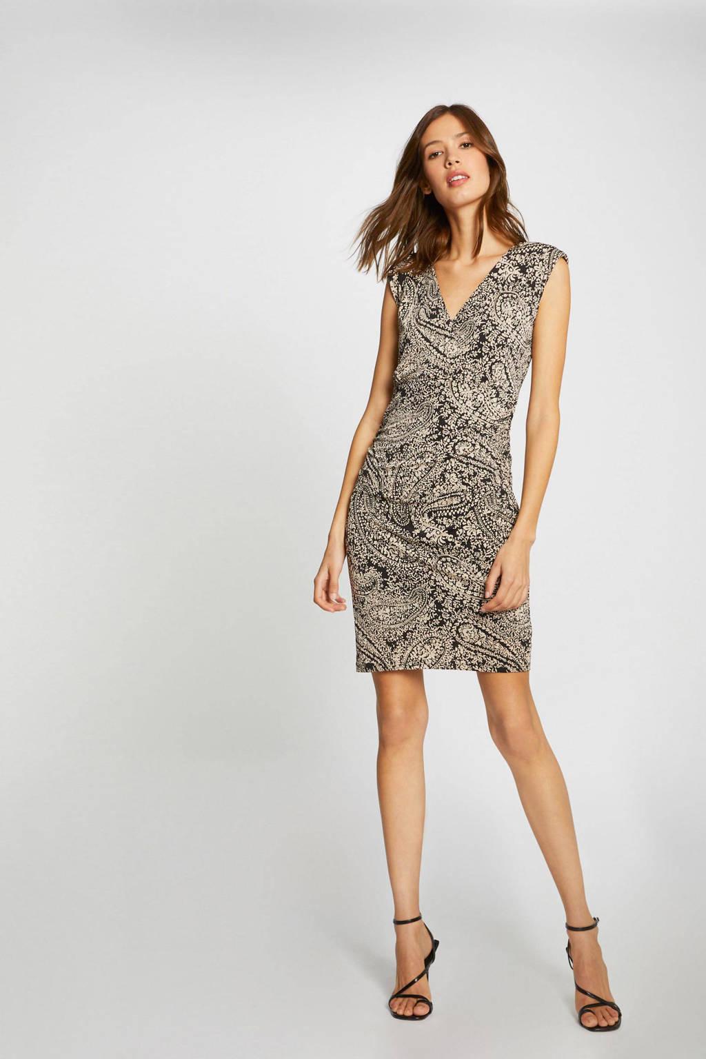 Morgan fijngebreide jurk met paisleyprint zwart/beige, Zwart/beige
