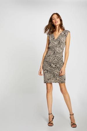 fijngebreide jurk met paisleyprint zwart/beige