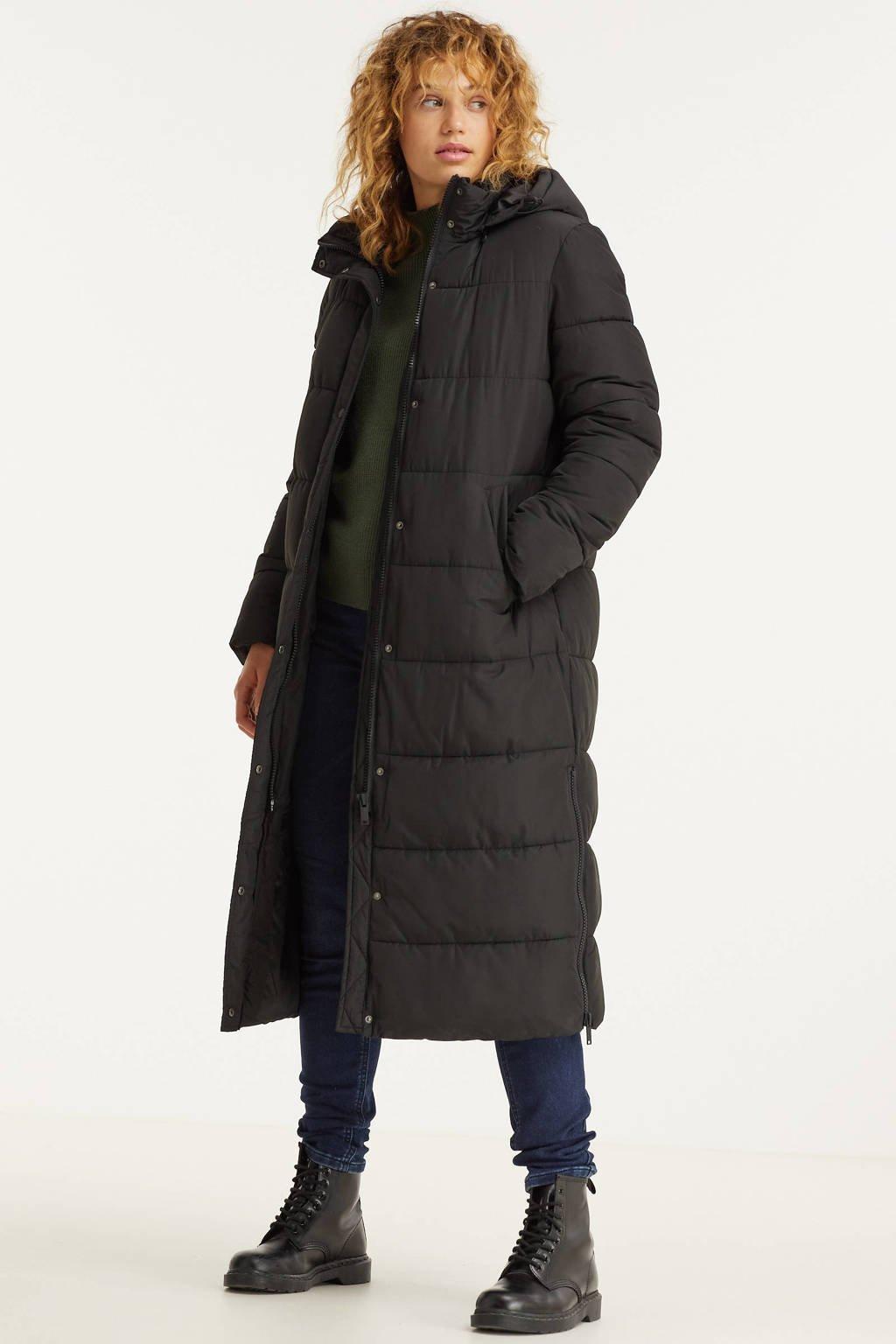 anytime lange gewatteerde jas zwart, Zwart