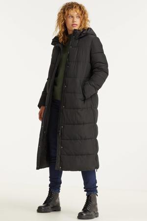 lange gewatteerde jas zwart