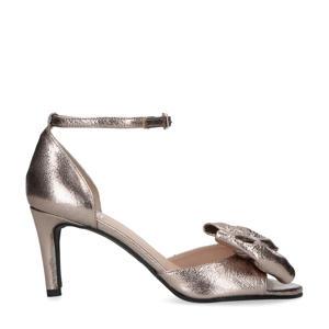 leren sandalettes met strik zilver
