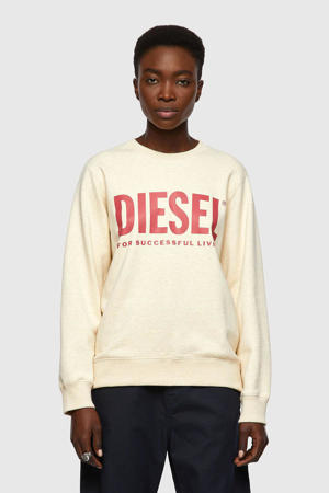 sweater F-ANGS-ECOLOGO SWEAT met logo ecru