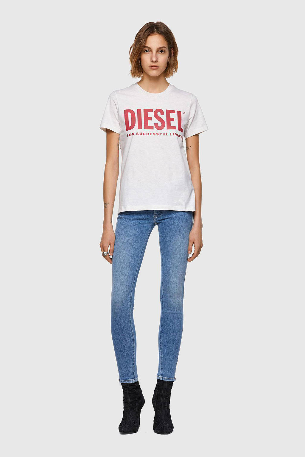 Diesel T-shirt T-SILY-ECOLOGO T-SHI met logo wit, Wit