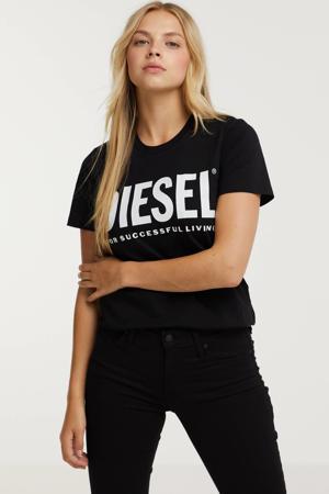 T-shirt T-SILY-ECOLOGO T-SHI met logo zwart