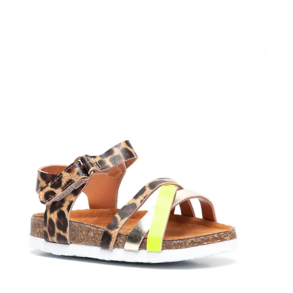 Scapino Blue Box   sandalen met panterprint bruin/geel, Bruin/geel