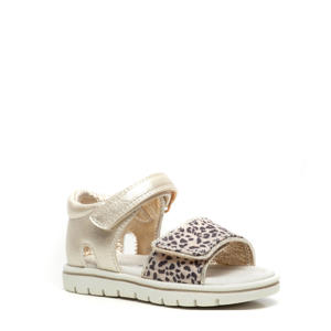 sandalen met panterprint goud/beige