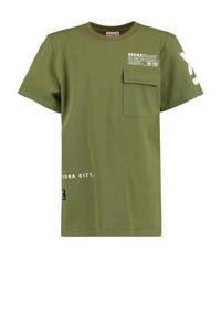 CoolCat Junior T-shirt Egon met tekst groen/wit, Groen/wit