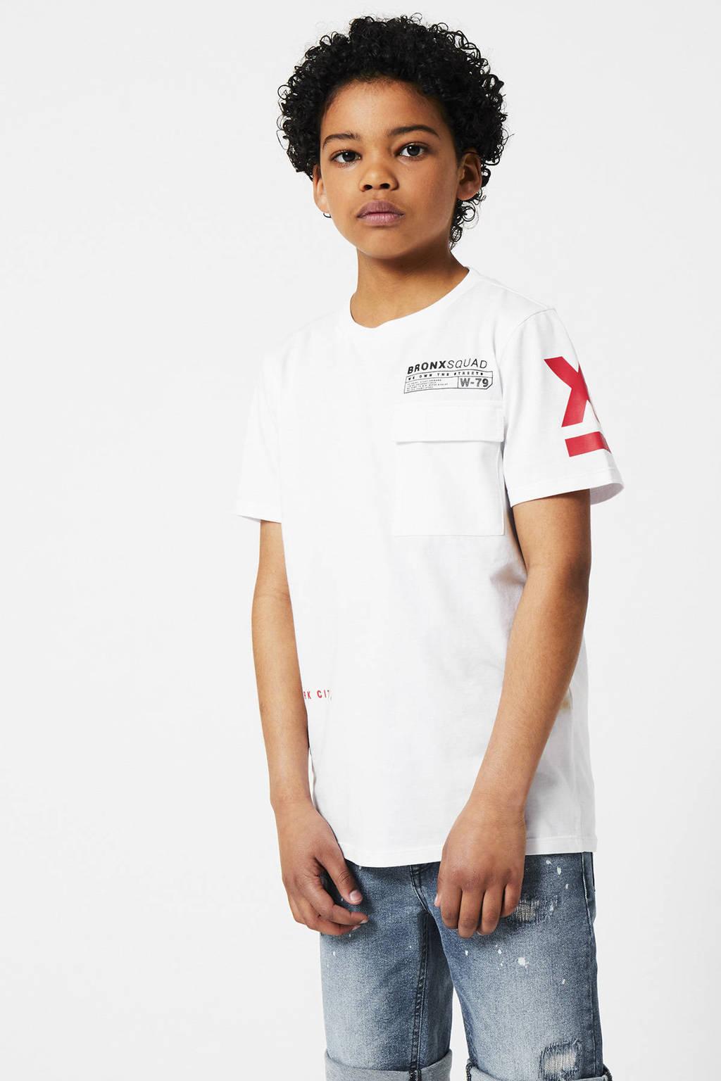 CoolCat Junior T-shirt Egon met tekst wit/rood, Wit/rood