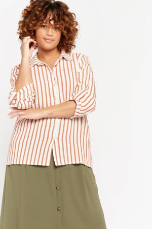 gestreepte blouse gebroken wit/ lichtbruin