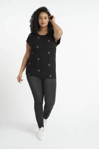 MS Mode T-shirt met fruitprint en borduursels zwart/rood/groen, Zwart/rood/groen