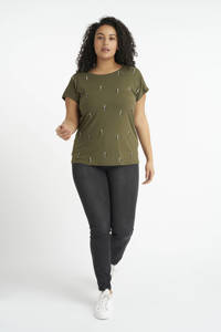 MS Mode T-shirt met grafische print en open detail kaki, Kaki