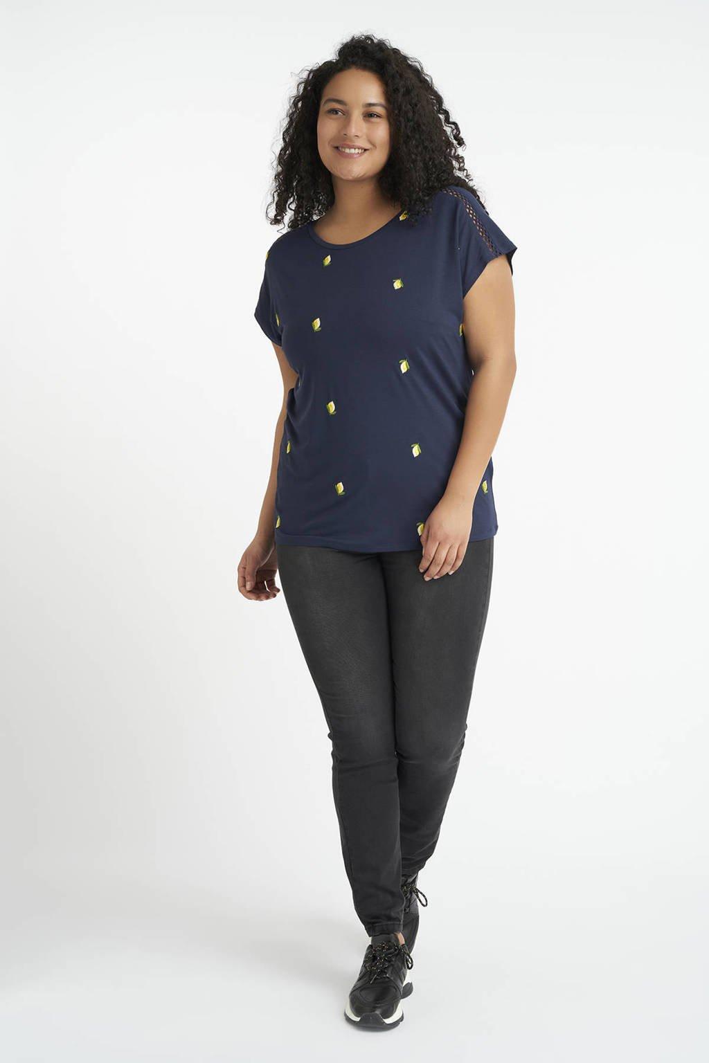 MS Mode T-shirt met fruitprint en borduursels donkerblauw/geel/groen, Donkerblauw/geel/groen