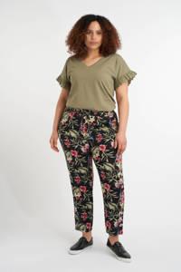 MS Mode gebloemde straight fit broek zwart/ groen