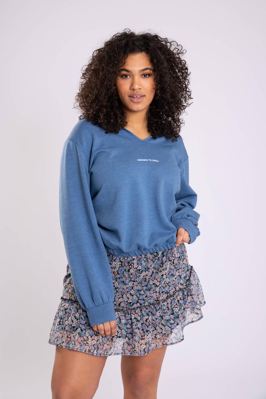 MS Mode gemêleerde hoodie blauw/wit, Blauw/wit