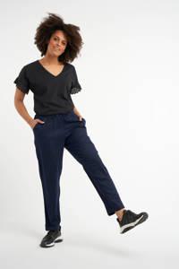 MS Mode loose fit broek met dierenprint blauw/zwart, Blauw/zwart