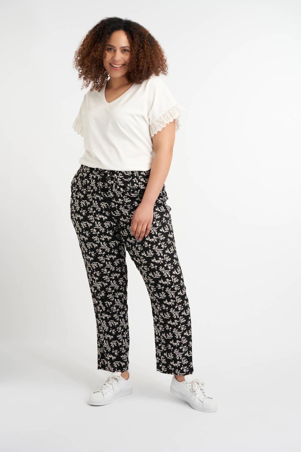MS Mode gebloemde loose fit broek zwart/wit, Zwart/wit