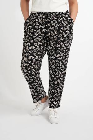 gebloemde wide leg palazzo broek zwart/wit