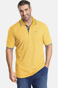 Charles Colby oversized polo Earl LANDON Plus Size met contrastbies lichtgeel, Lichtgeel